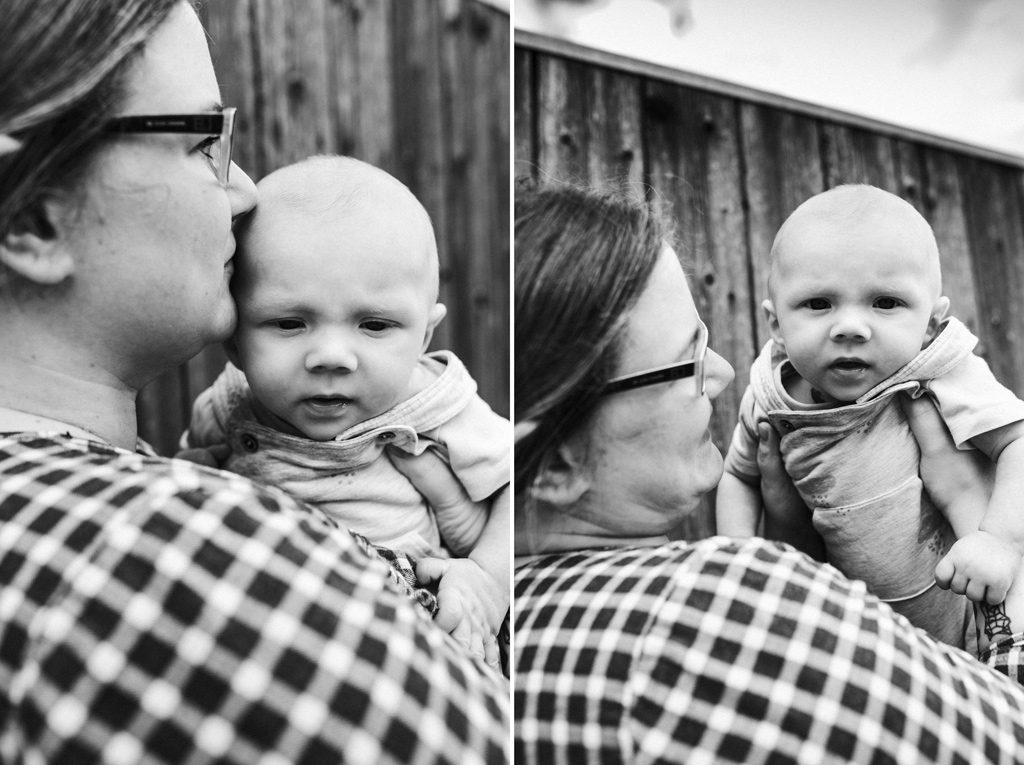 Bildercollage von der Mutter wie sie ihr Kind hält