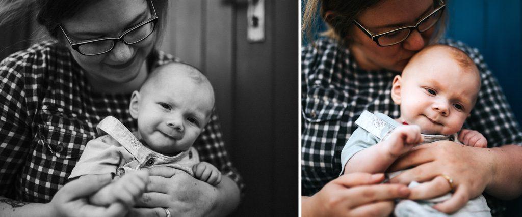 Zwei Bilder von Baby und Mutter