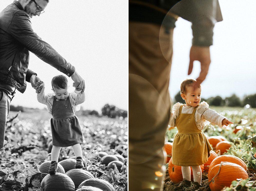 Fotocollage von Vater und Tochter im Feld.